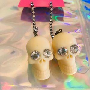 rhinestone earrings long vintage Betsey Johnson